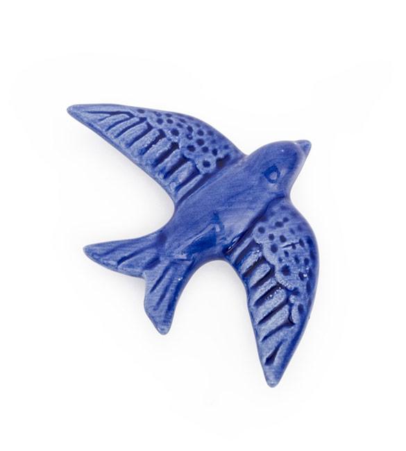 Andorinha C/Iman em Cerâmica Azul