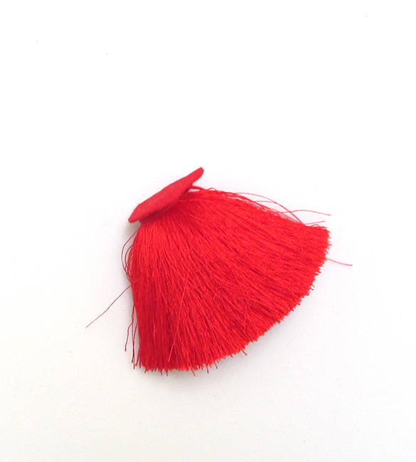 Borla/Franja vermelha em polyester