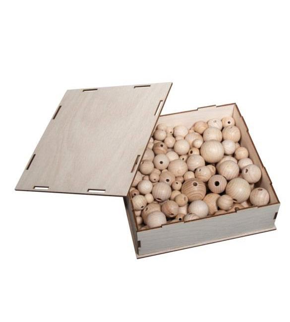 Caixa 222 missangas de madeira