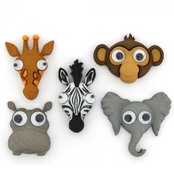 Botões Animais de Zoo