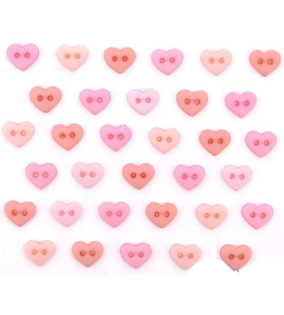 Botões Rosa em Forma Coração