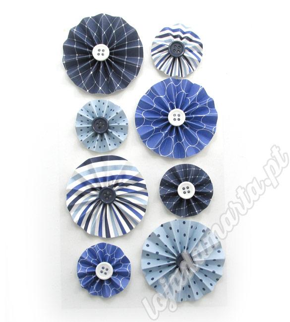 Flores de papel tons de azul