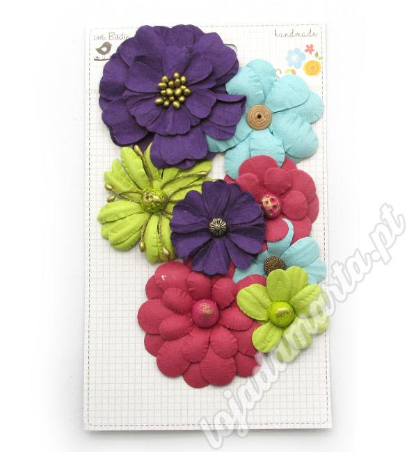 Flores de papel tons vivos pack de 8