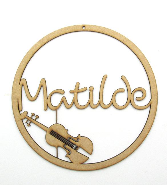 Aro em mdf com violino e nome