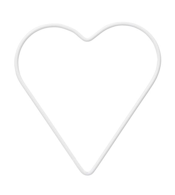 Aro Metálico Coração em Branco 28cm