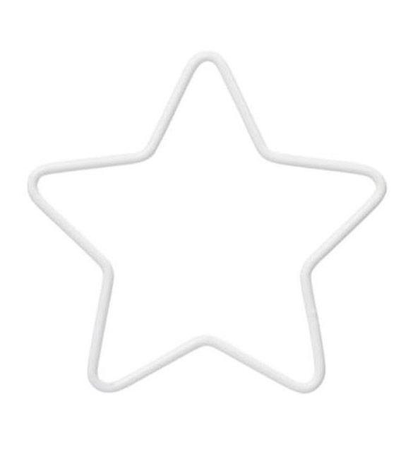 Aro Metálico Estrela em Branco 26cm