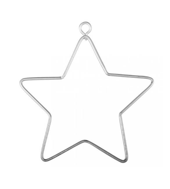 Estrela Metálica em Prata 7cm  3 unidades
