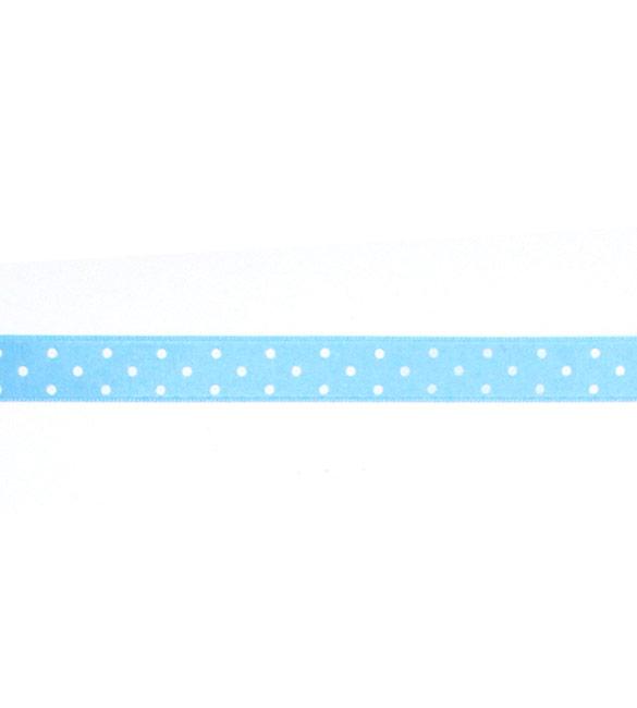 Fita Cetim Azul Bebé com bolinhas brancas 15mm