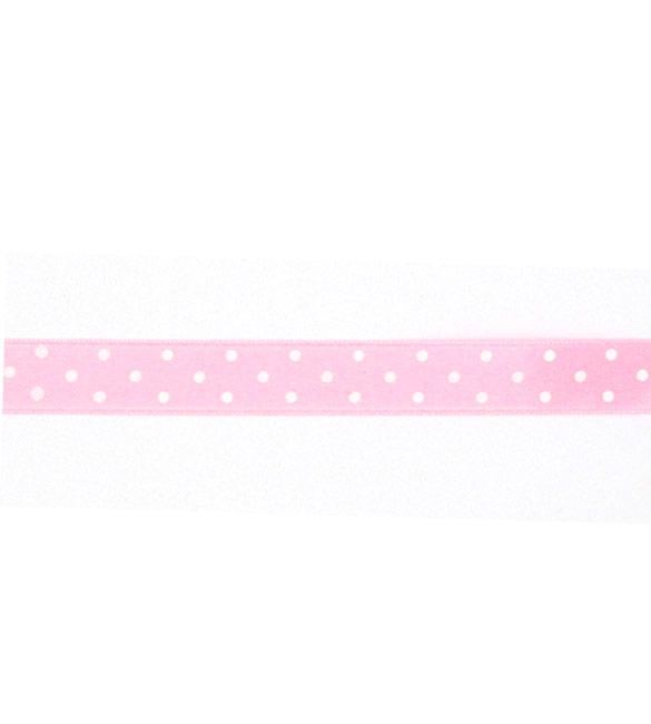 Fita Cetim rosa Bebé com bolinhas brancas 15mm