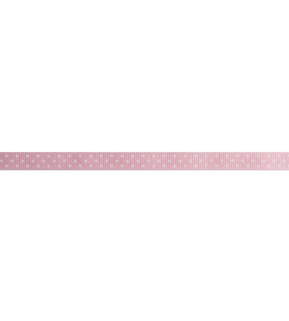 Fita Rosa com Pintas Brancas 10mm