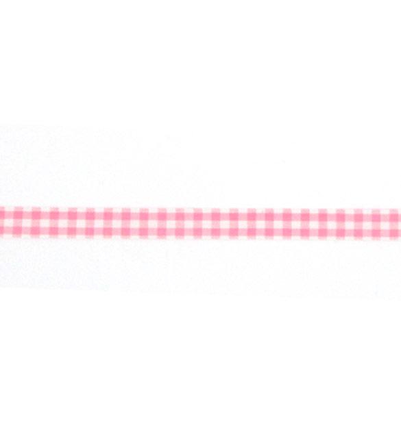 Fita de tecido rosa bebé com xadrez 10mm
