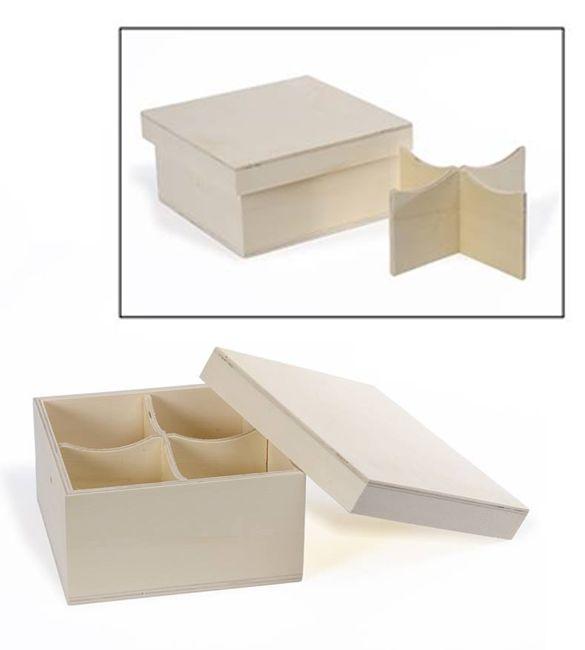 Caixa de Chá 4 divisões 16.5*16.5*8cm