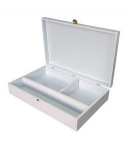 Caixa de Batismo Pintada de Branco  com Fecho