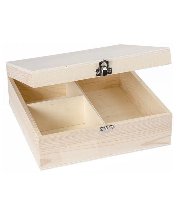 Caixa de madeira com 3 divisórias