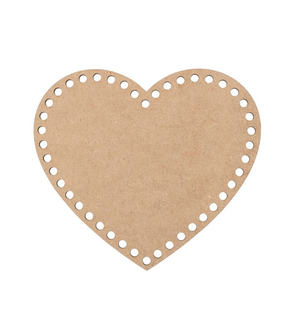 Base para cesto coração em mdf com furos - 20cm