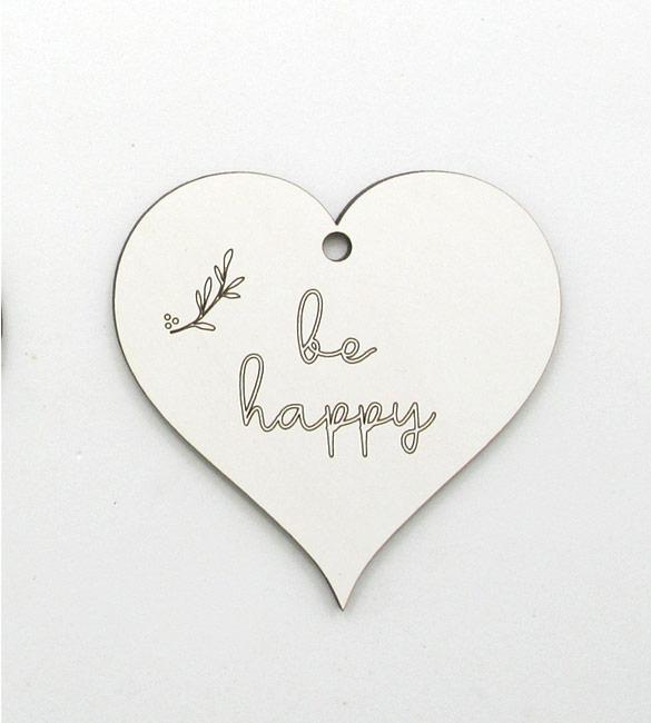 Coração Be Happy em mdf