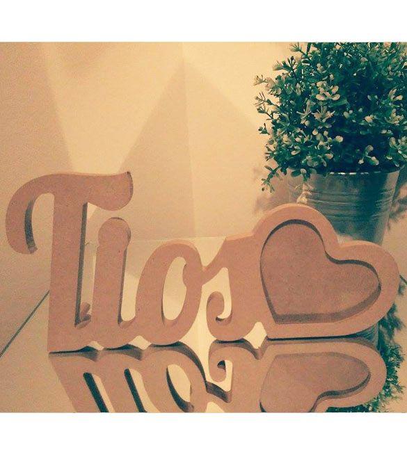 """Moldura """"Tios"""" - 28x13cm para foto em forma de coração 9.5x6.5"""