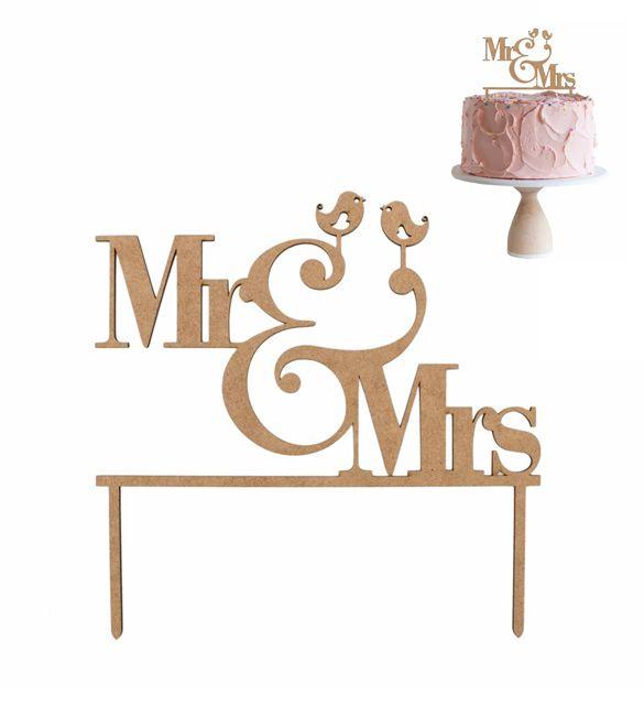 """Topo de bolo em mdf """"Mr&Mrs"""""""