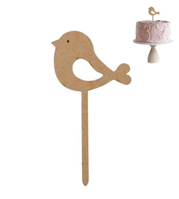 Topo de bolo em mdf com passarinho