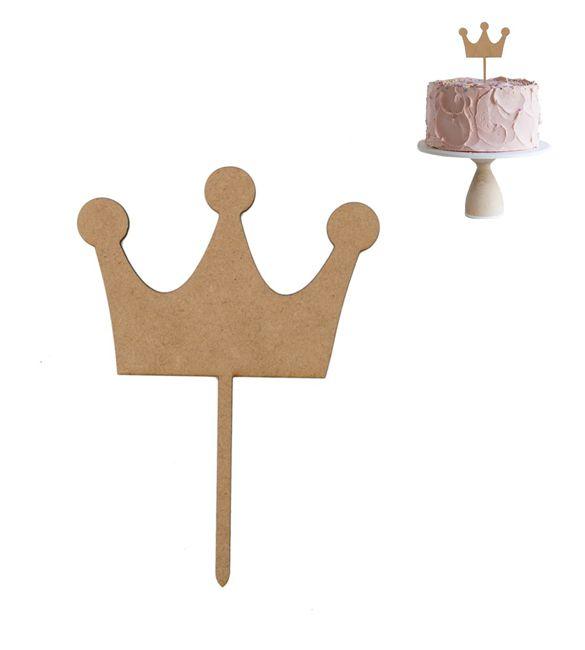 """Topo de bolo em mdf """"Coroa Principe"""""""
