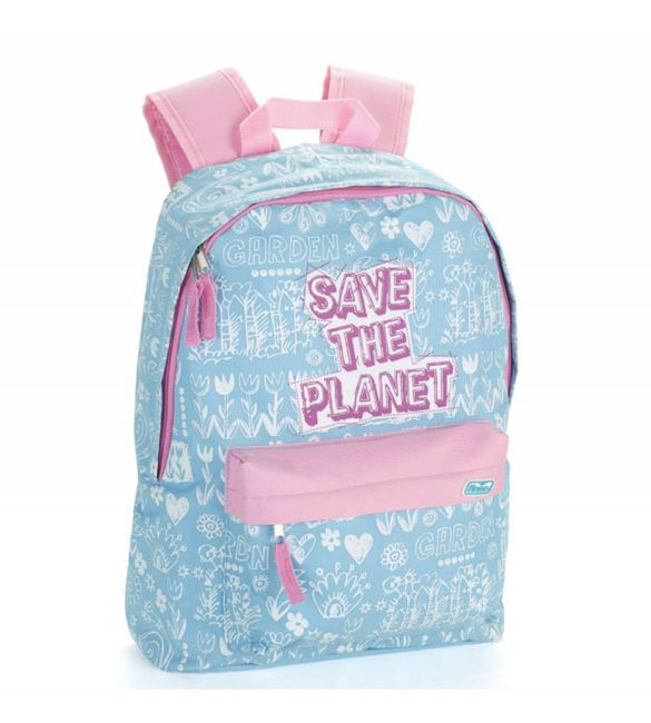 Mochila Planet Girls Pink e Flowers 44cm