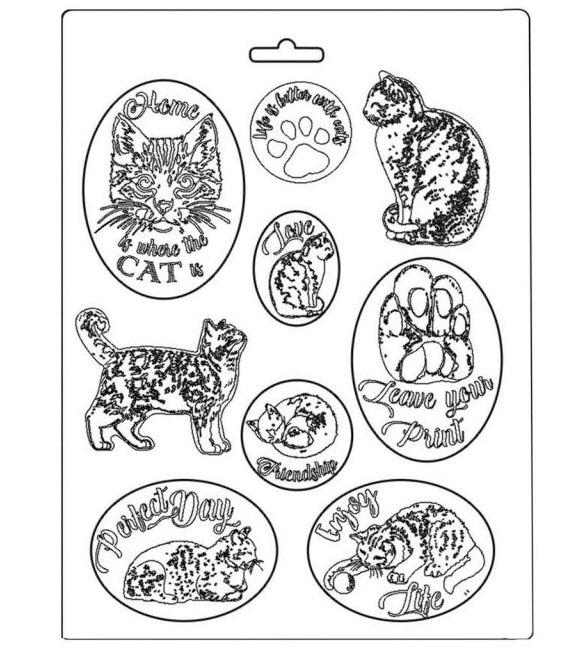 Molde Stamperia com gatos texturados