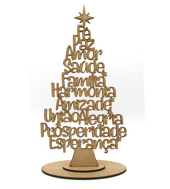Árvore de Natal com palavras 30cm
