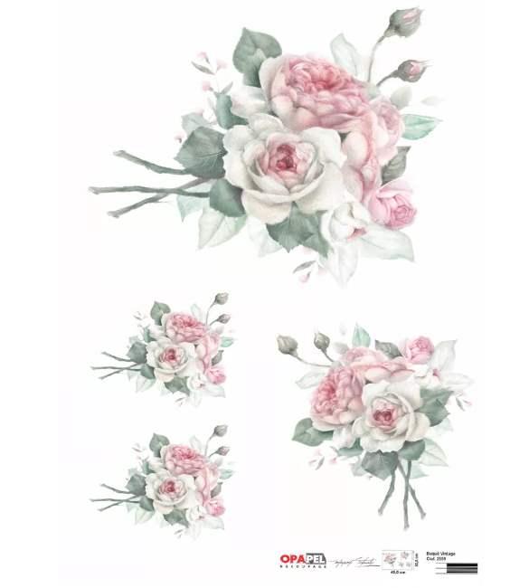 Papel Decoupage OPAPEL Rosa Vintage