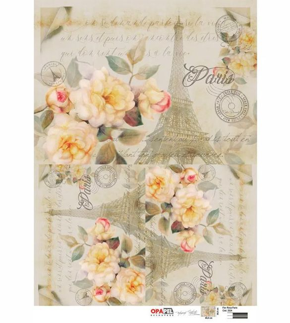 Papel Decoupage OPAPEL Flor Rosa Paris