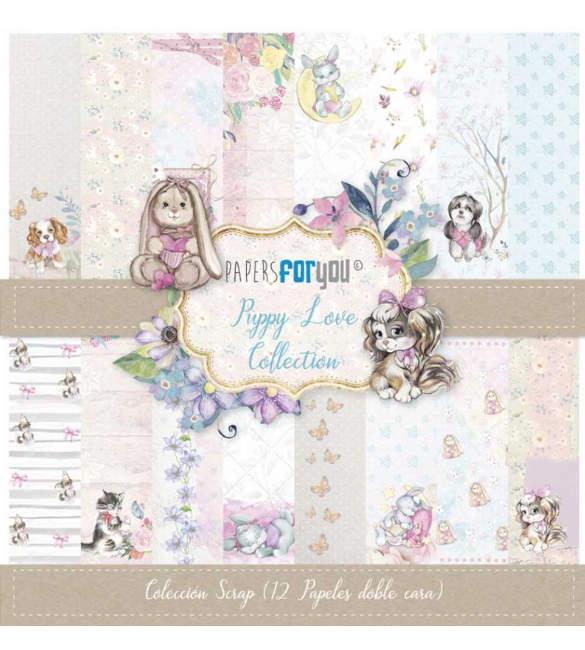 Papel Scrapbooking Puppy Love Pack de 12
