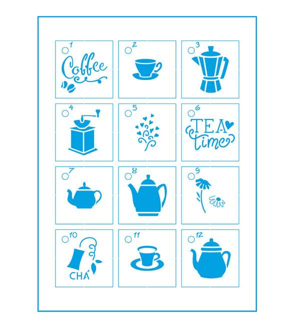 Mini Stencil  Chá e Café