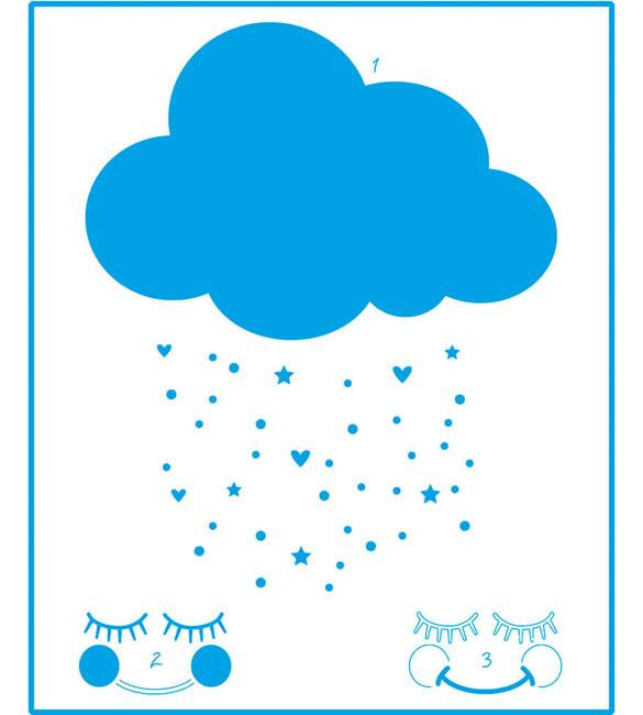 Stencil Nuvem Chuva e Bênção