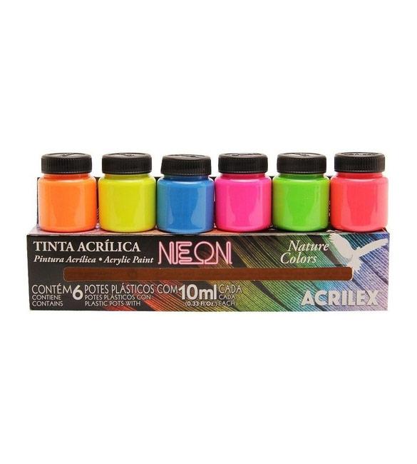 Tinta Acrílica Neon 6 Cores