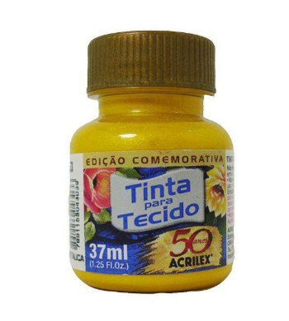 TINTA PARA TECIDO ACRILEX 37ML METAL. AMARELA