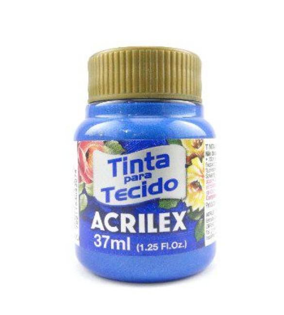 TINTA PARA TECIDO ACRILEX 37ML METAL. AZUL