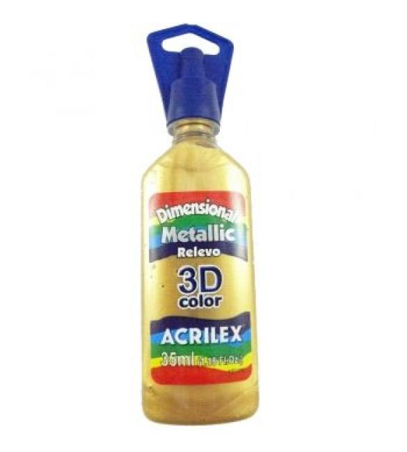 DIMENSIONAL ACRILEX METALICA relevo 3d Ouro Velho