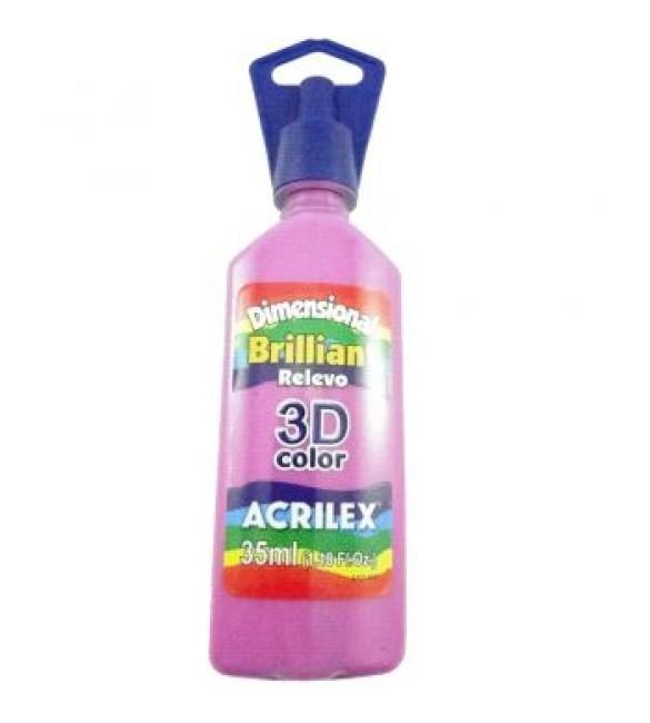 DIMENSIONAL ACRILEX BRILHANTE relevo 3D rosa fushia