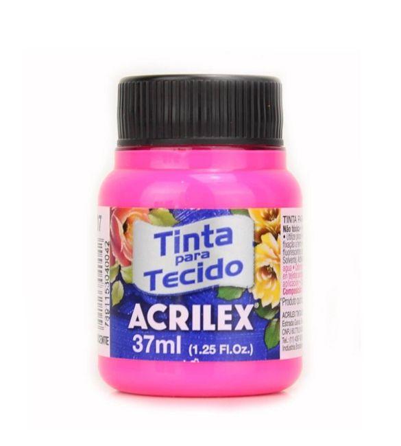 TINTA PARA TECIDO ACRILEX FLUORESCENTE 37ML ROSA MARAVILHA