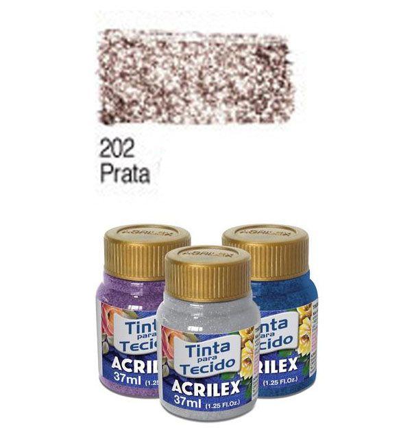 TINTA PARA TECIDO ACRILEX GLITTER 37ML PRATA