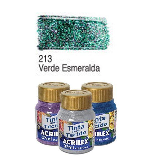 TINTA PARA TECIDO ACRILEX GLITTER 37ML VERDE ESMERALDA