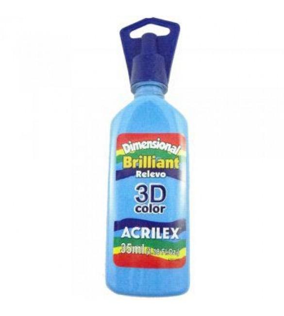 DIMENSIONAL ACRILEX BRILHANTE Relevo 3D azul celeste