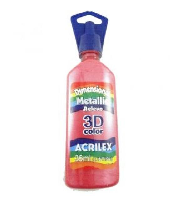 DIMENSIONAL ACRILEX METALICA relevo 3d VERMELHO